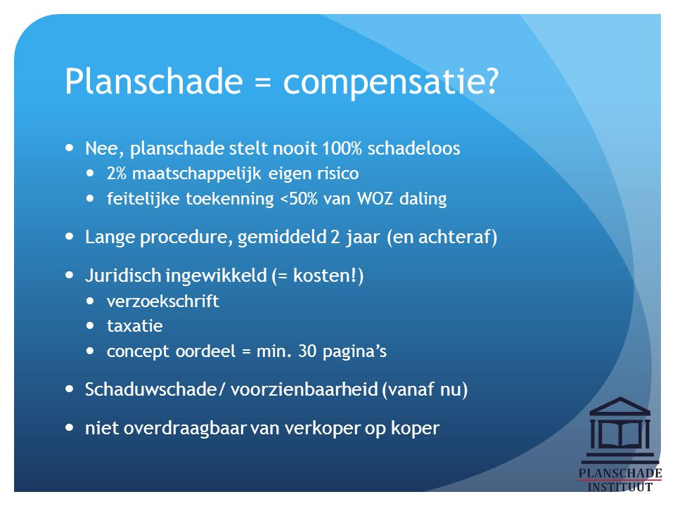 Planschade = compensatie