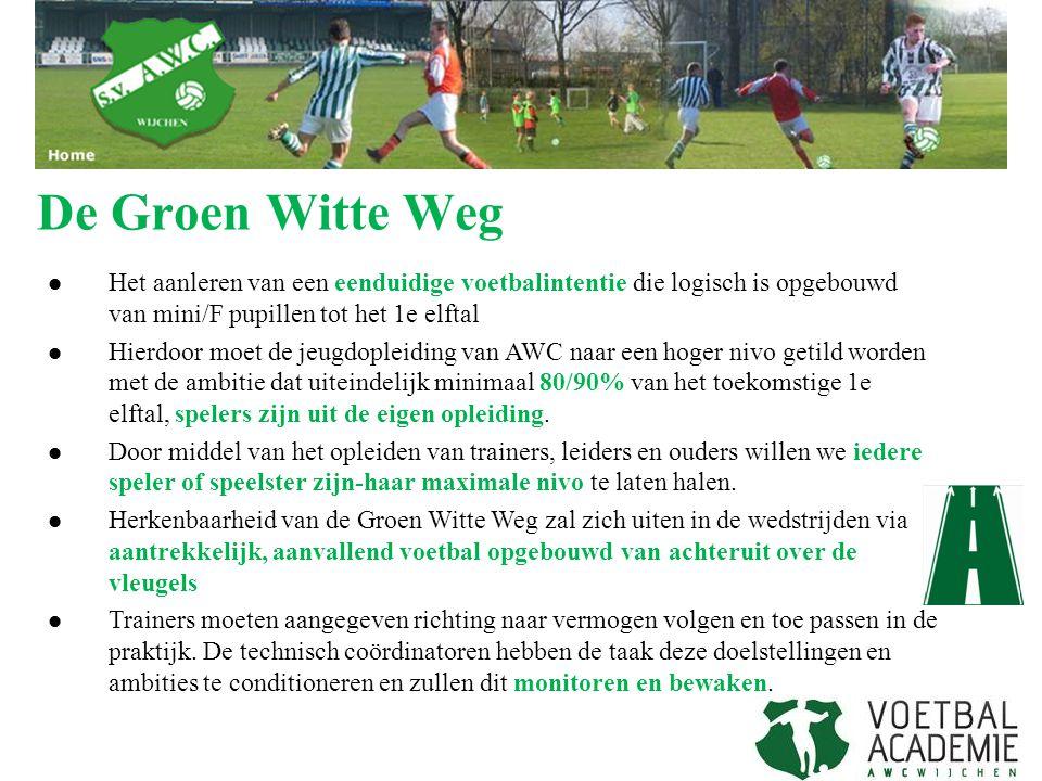 De Groen Witte Weg Het aanleren van een eenduidige voetbalintentie die logisch is opgebouwd van mini/F pupillen tot het 1e elftal.