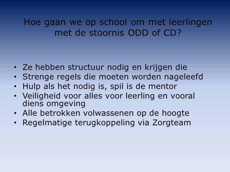 Hoe gaan we op school om met leerlingen met de stoornis ODD of CD