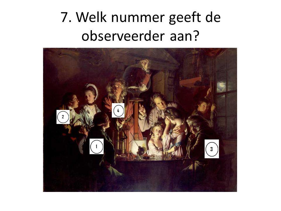 7. Welk nummer geeft de observeerder aan