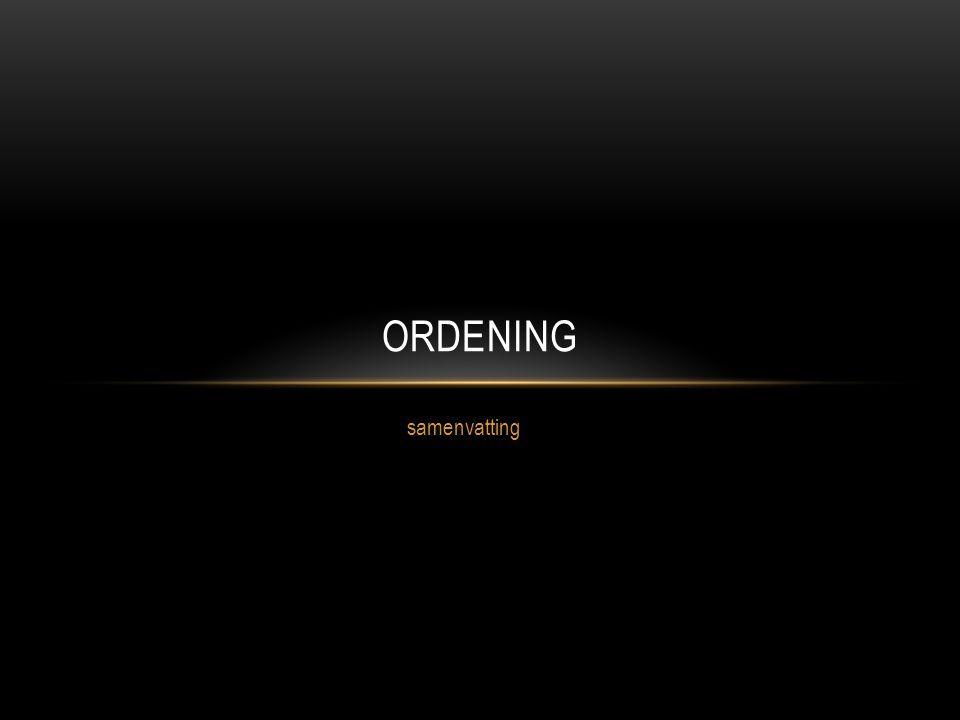 Ordening samenvatting