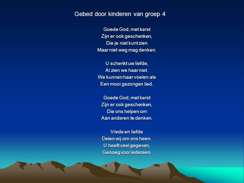 Gebed door kinderen van groep 4