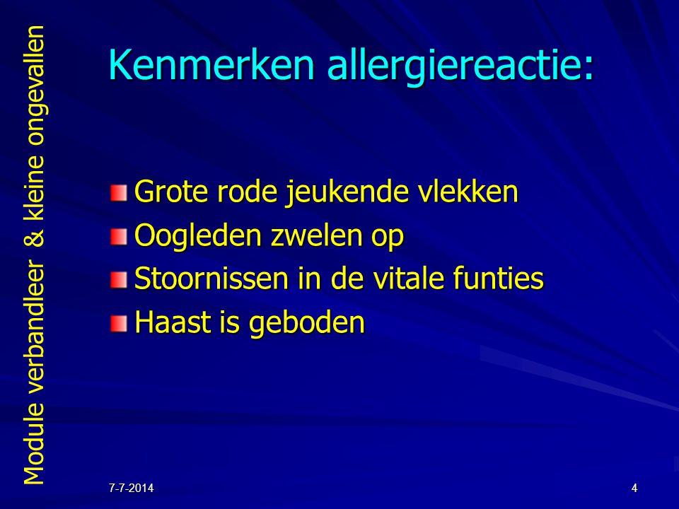 Kenmerken allergiereactie: