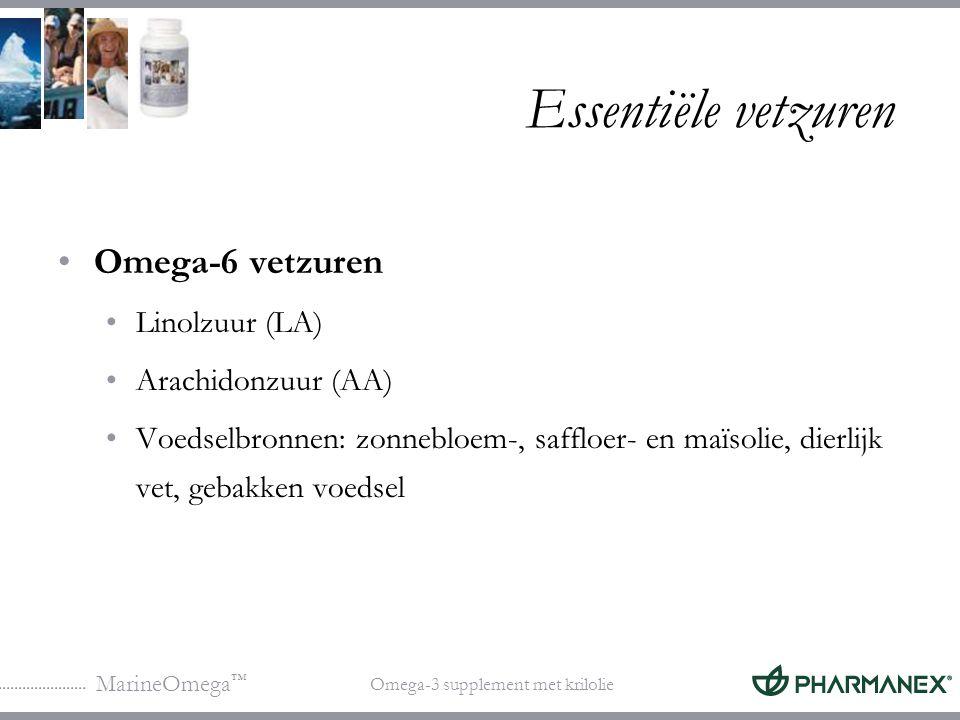 Essentiële vetzuren Omega-6 vetzuren Linolzuur (LA) Arachidonzuur (AA)
