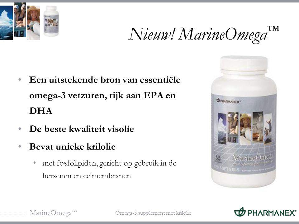 Nieuw! MarineOmega™ Een uitstekende bron van essentiële omega-3 vetzuren, rijk aan EPA en DHA. De beste kwaliteit visolie.