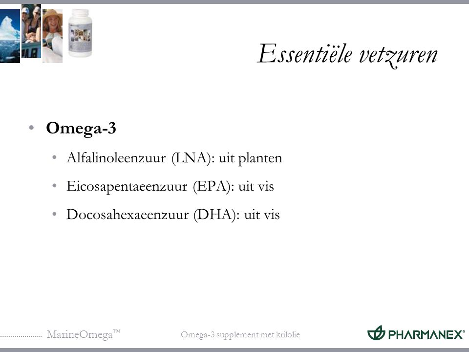 Essentiële vetzuren Omega-3 Alfalinoleenzuur (LNA): uit planten