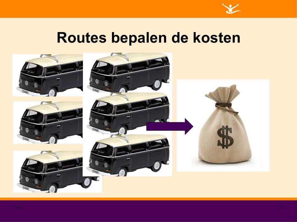 Routes bepalen de kosten