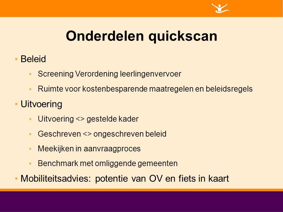 Onderdelen quickscan Beleid Uitvoering