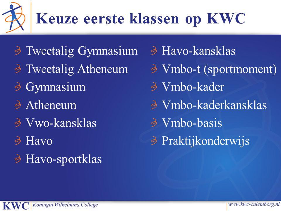 Keuze eerste klassen op KWC