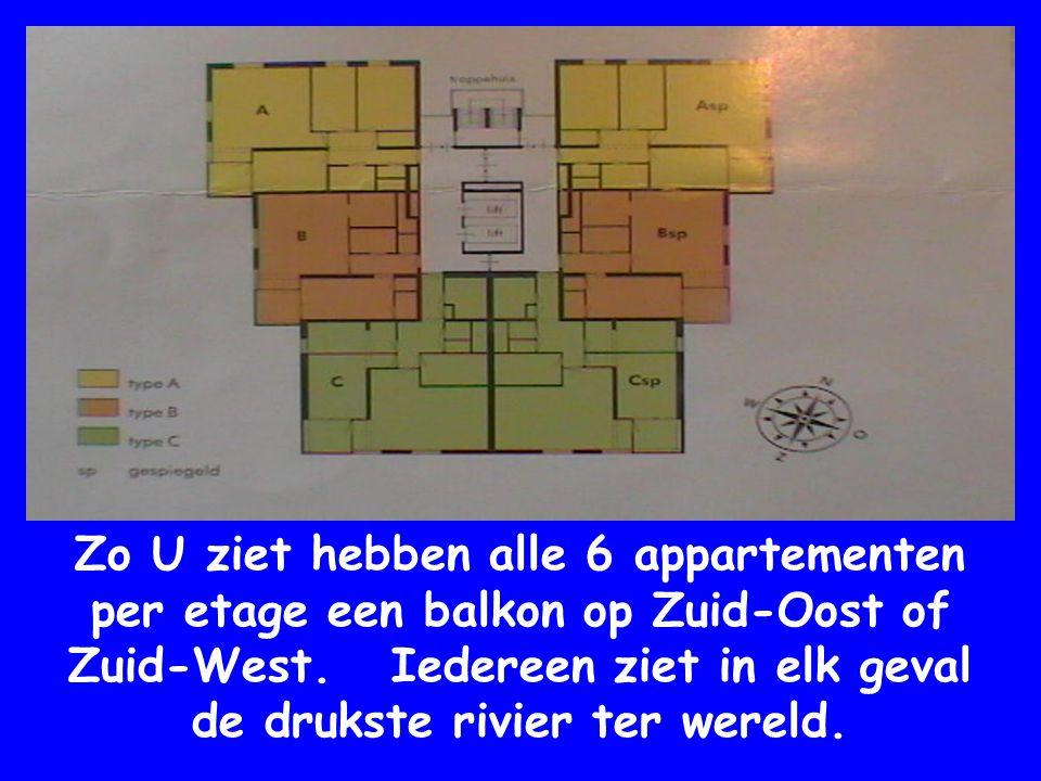 Zo U ziet hebben alle 6 appartementen per etage een balkon op Zuid-Oost of Zuid-West.