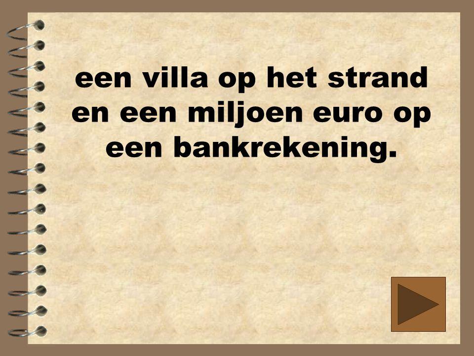 een villa op het strand en een miljoen euro op een bankrekening.