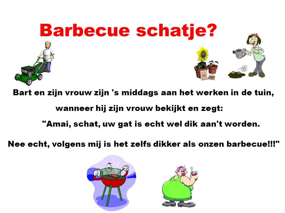 Barbecue schatje Bart en zijn vrouw zijn s middags aan het werken in de tuin, wanneer hij zijn vrouw bekijkt en zegt: