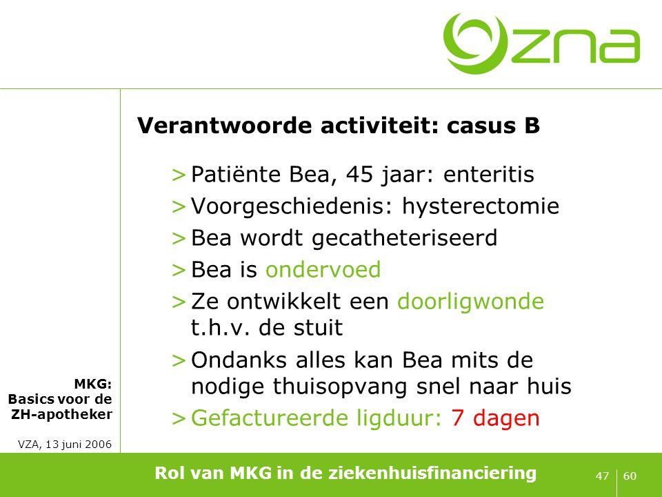 Casus B: distributie patiëntengroep