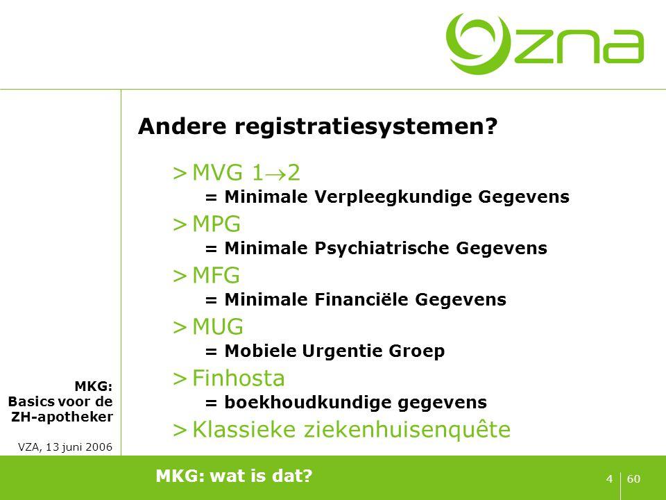 Andere registratiesystemen blijven! Planning: