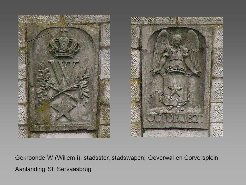 Gekroonde W (Willem i), stadsster, stadswapen; Oeverwal en Corversplein