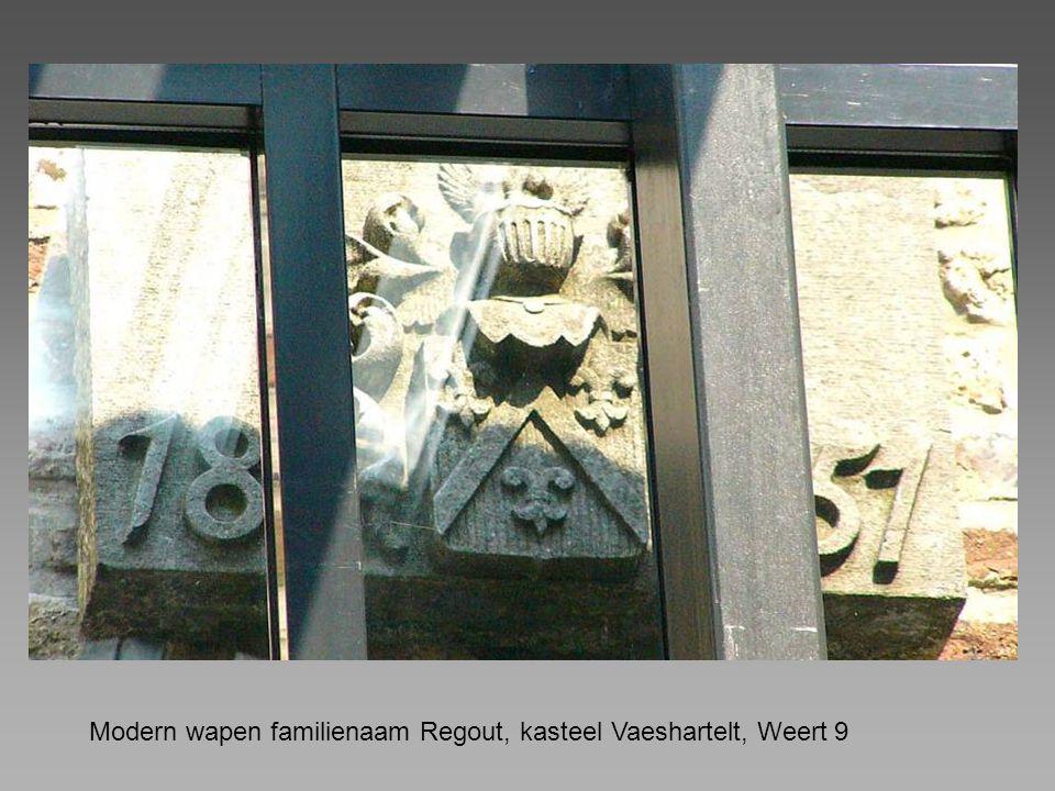 Modern wapen familienaam Regout, kasteel Vaeshartelt, Weert 9