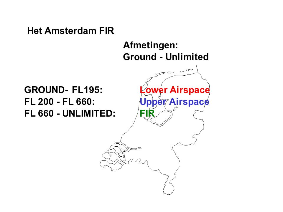 Het Amsterdam FIR Afmetingen: Ground - Unlimited. GROUND- FL195: Lower Airspace. FL 200 - FL 660: