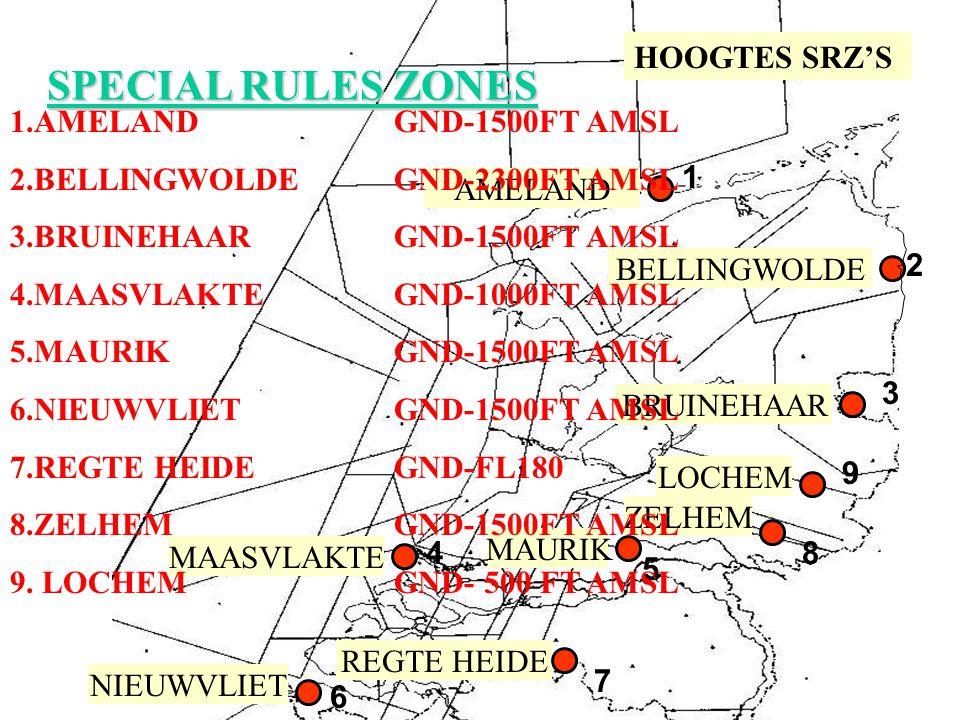 SPECIAL RULES ZONES HOOGTES SRZ'S 1.AMELAND GND-1500FT AMSL