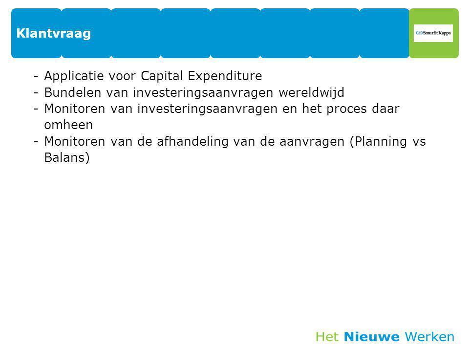Klantvraag Applicatie voor Capital Expenditure. Bundelen van investeringsaanvragen wereldwijd.