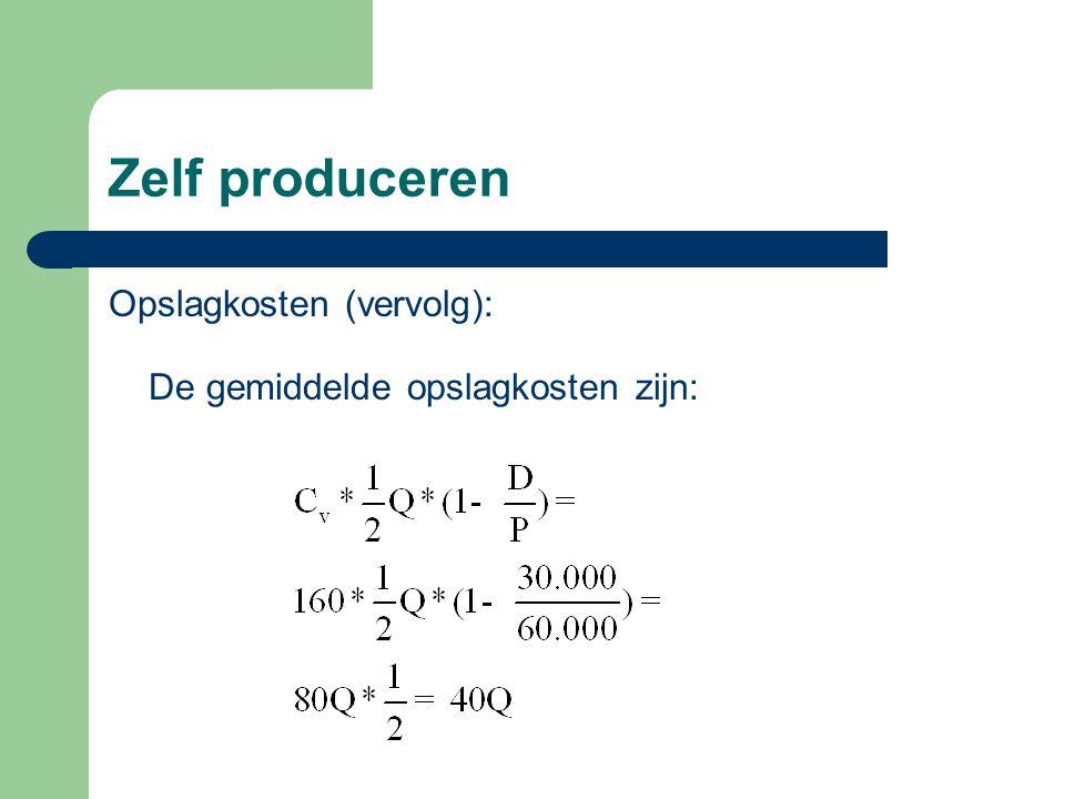 Zelf produceren Opslagkosten (vervolg): De gemiddelde opslagkosten zijn: