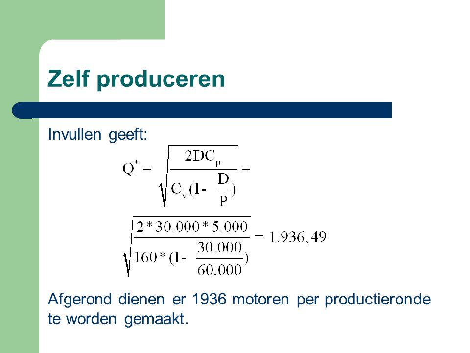 Zelf produceren Invullen geeft: Afgerond dienen er 1936 motoren per productieronde te worden gemaakt.