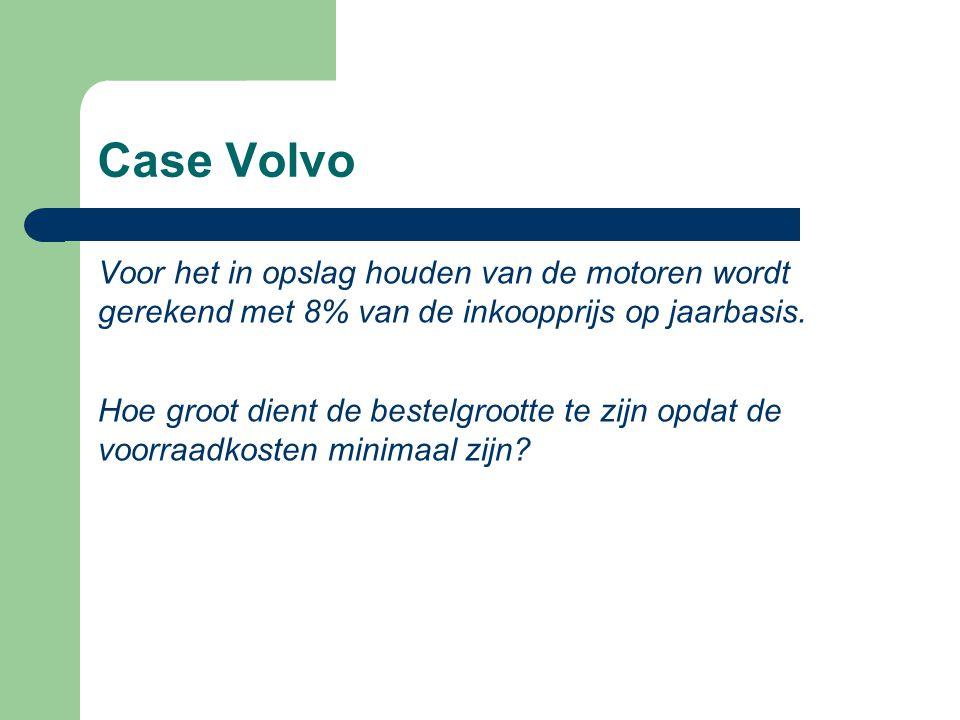 Case Volvo Voor het in opslag houden van de motoren wordt gerekend met 8% van de inkoopprijs op jaarbasis.