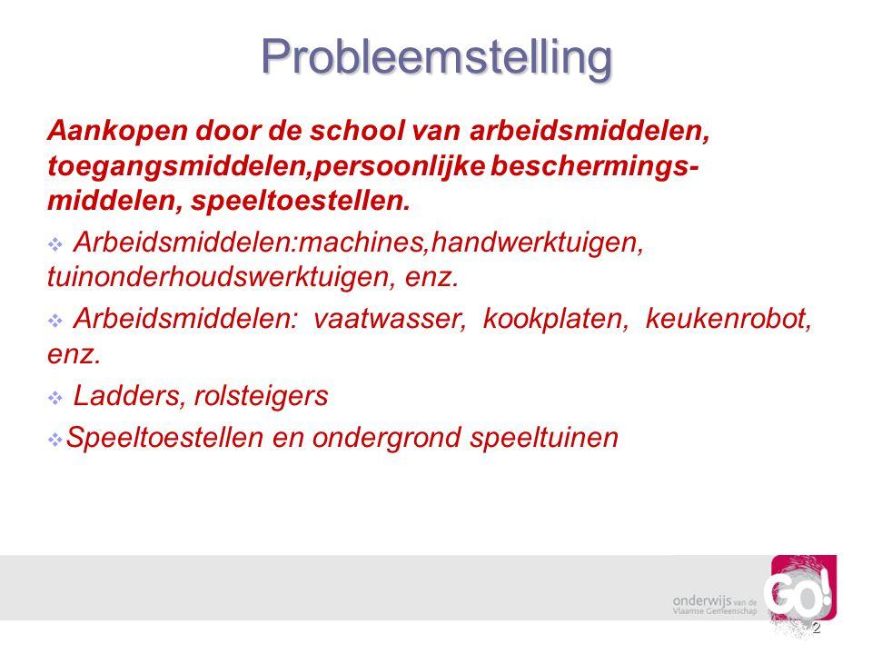 Probleemstelling Aankopen door de school van arbeidsmiddelen, toegangsmiddelen,persoonlijke beschermings-middelen, speeltoestellen.