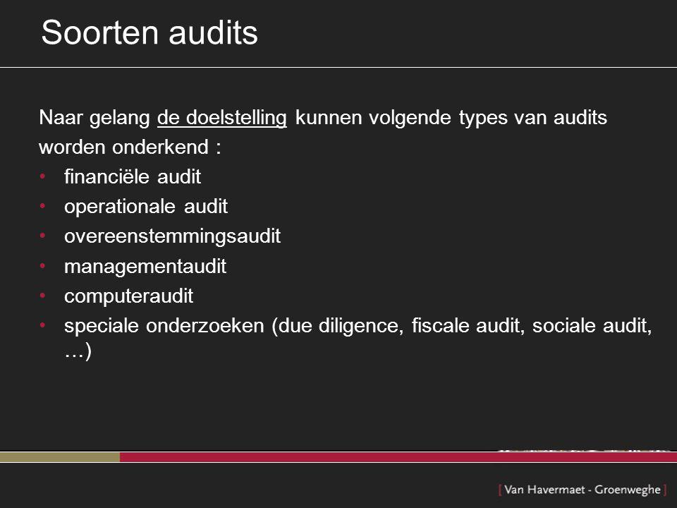 Soorten audits Naar gelang de doelstelling kunnen volgende types van audits. worden onderkend : financiële audit.