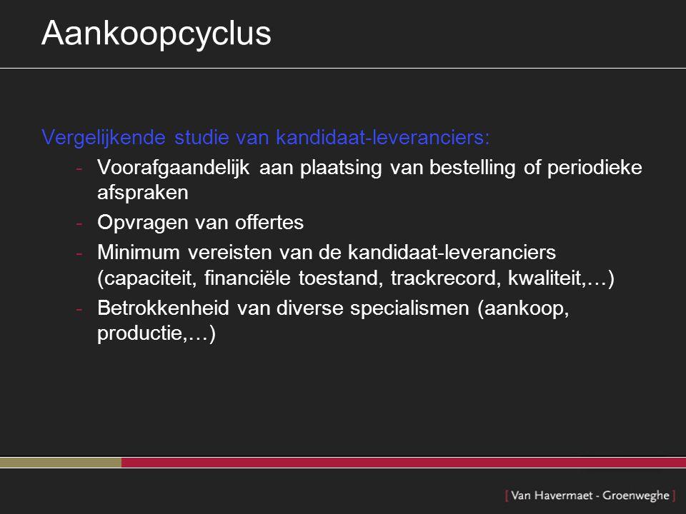 Aankoopcyclus Vergelijkende studie van kandidaat-leveranciers: