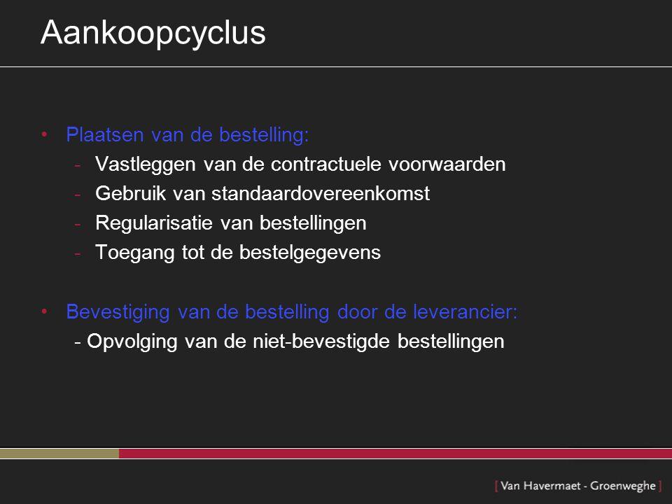 Aankoopcyclus Plaatsen van de bestelling: