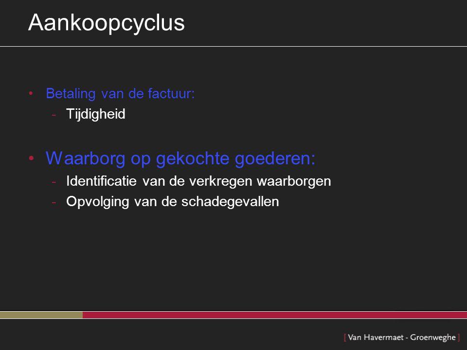 Aankoopcyclus Waarborg op gekochte goederen: Betaling van de factuur: