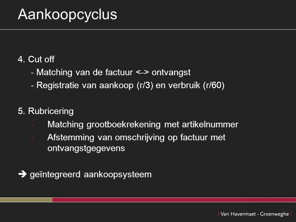 Aankoopcyclus 4. Cut off - Matching van de factuur <-> ontvangst