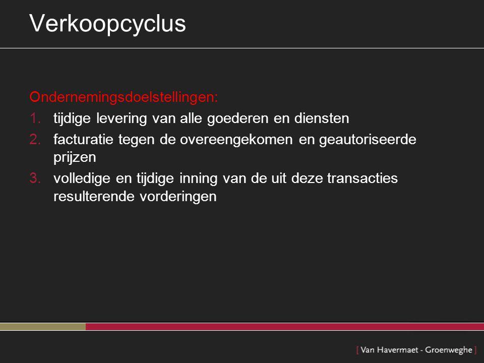 Verkoopcyclus Ondernemingsdoelstellingen: