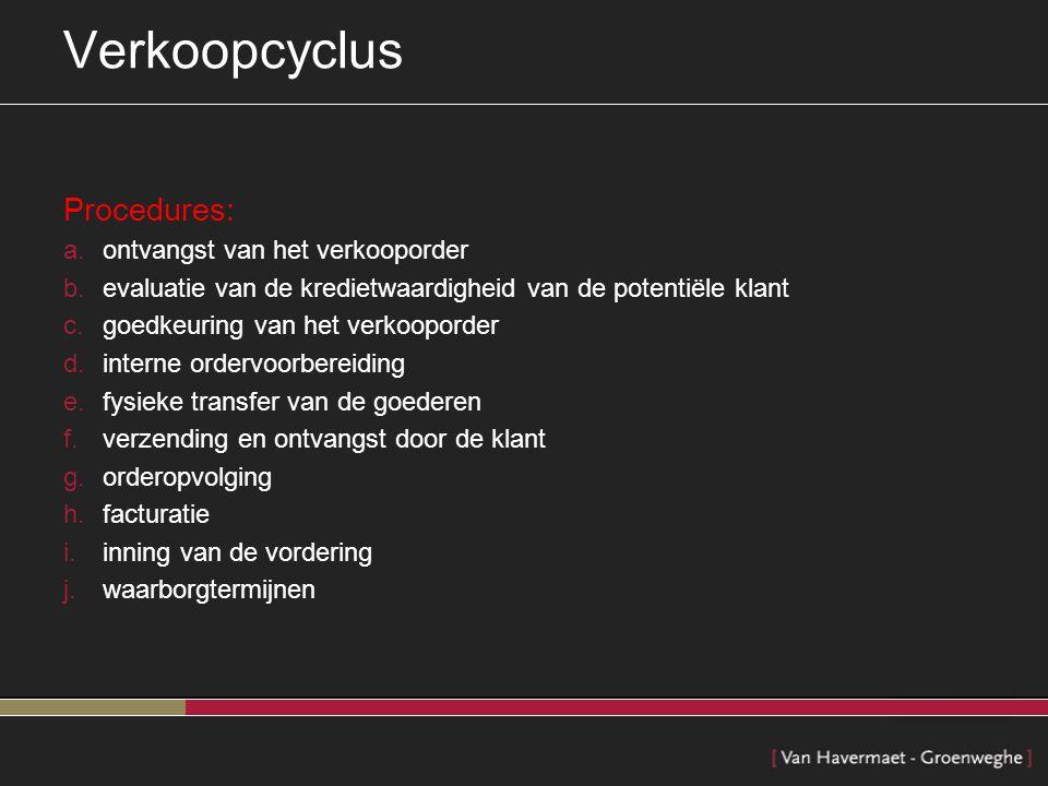 Verkoopcyclus Procedures: ontvangst van het verkooporder