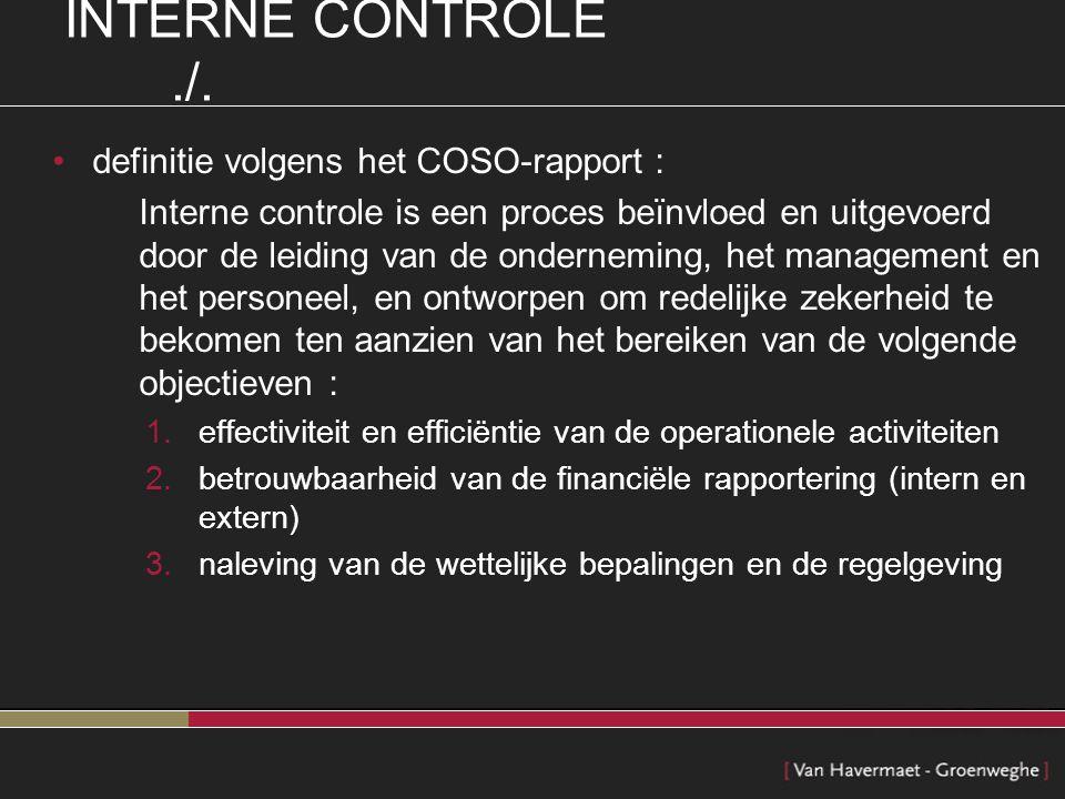 INTERNE CONTROLE ./. definitie volgens het COSO-rapport :
