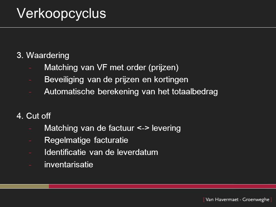 Verkoopcyclus 3. Waardering Matching van VF met order (prijzen)