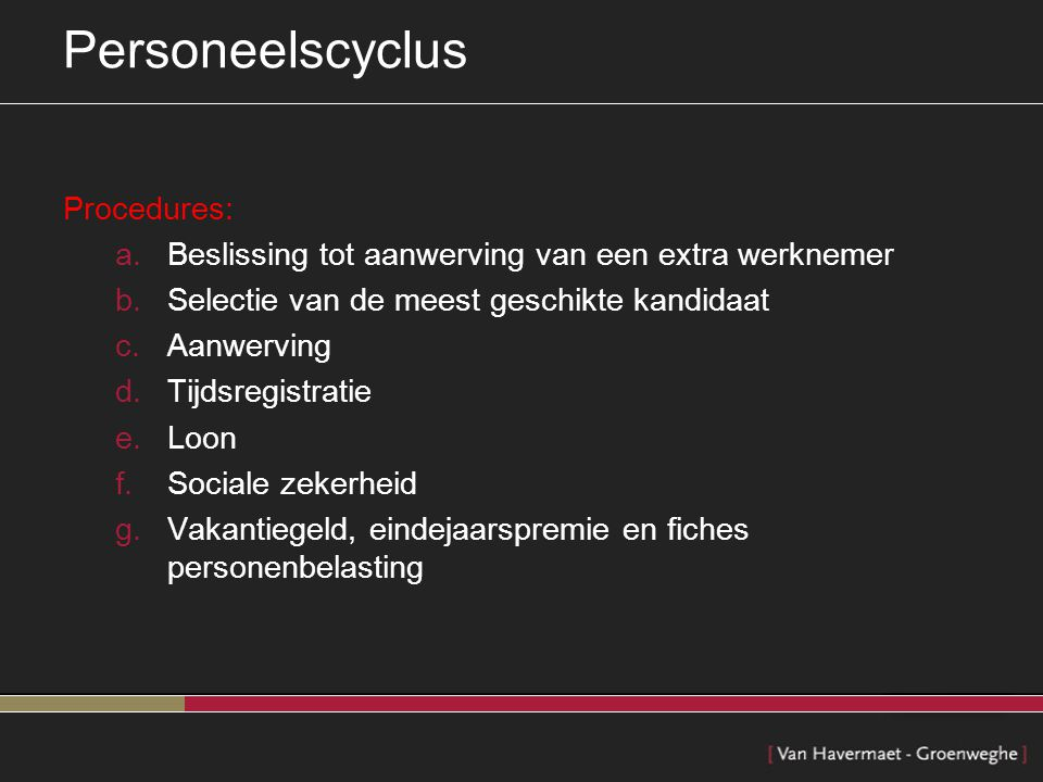 Personeelscyclus Procedures:
