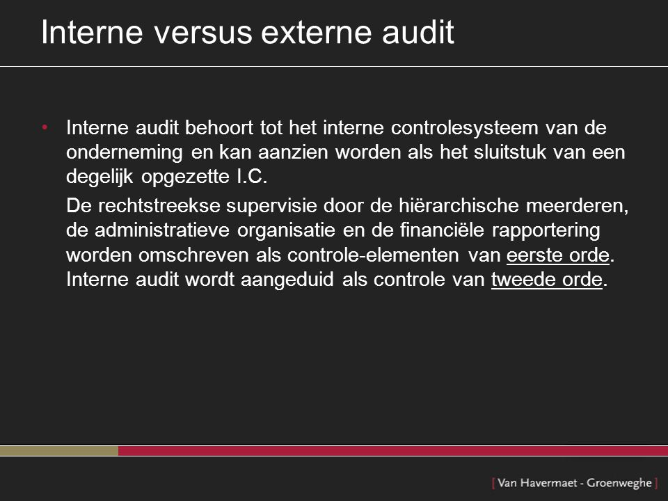 Interne versus externe audit