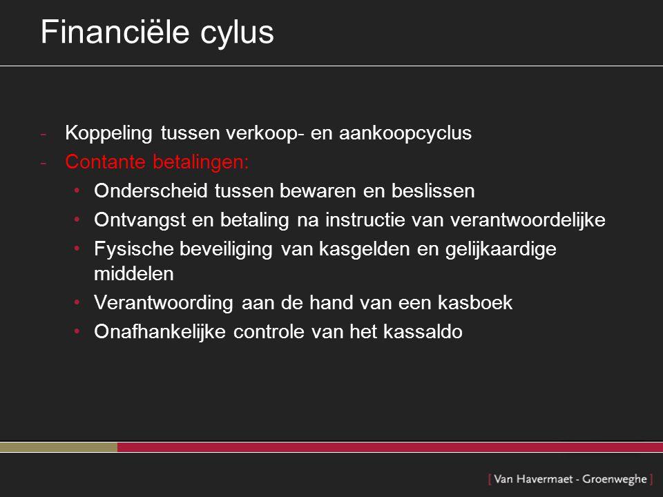 Financiële cylus Koppeling tussen verkoop- en aankoopcyclus