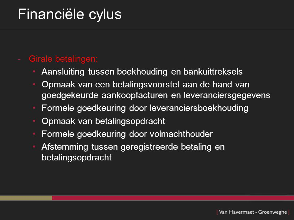 Financiële cylus Girale betalingen:
