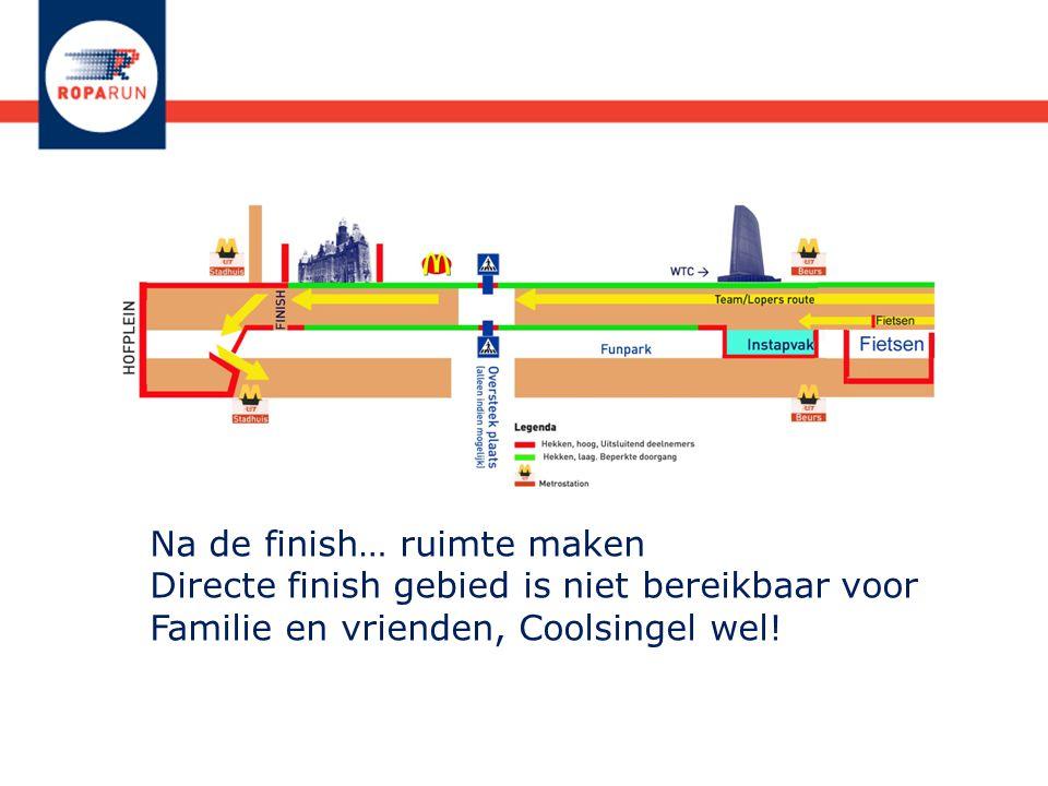 Na de finish… ruimte maken Directe finish gebied is niet bereikbaar voor Familie en vrienden, Coolsingel wel!