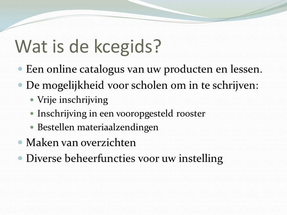 Wat is de kcegids Een online catalogus van uw producten en lessen.
