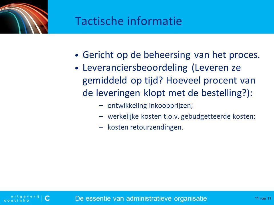 Tactische informatie Gericht op de beheersing van het proces.