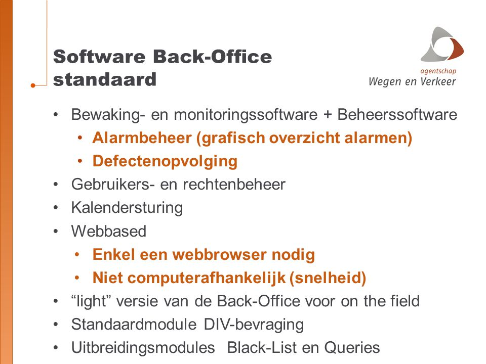 Software Back-Office standaard