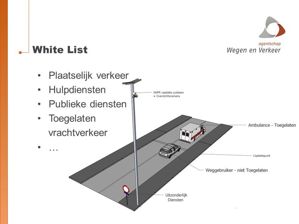White List Plaatselijk verkeer Hulpdiensten Publieke diensten Toegelaten vrachtverkeer …