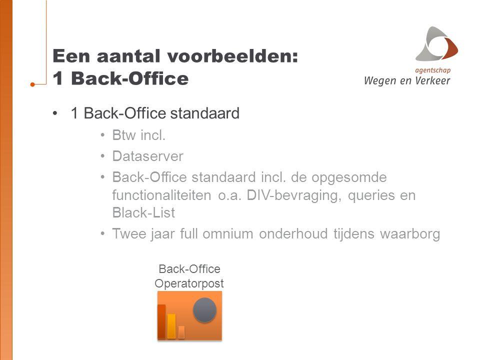 Een aantal voorbeelden: 1 Back-Office