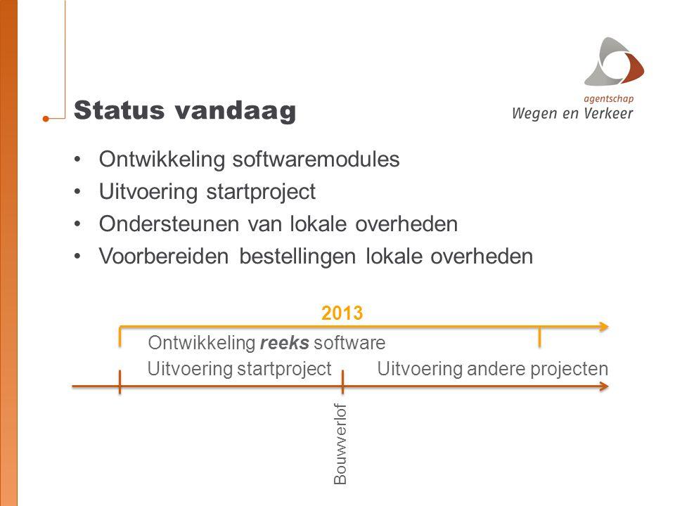 Status vandaag Ontwikkeling softwaremodules Uitvoering startproject