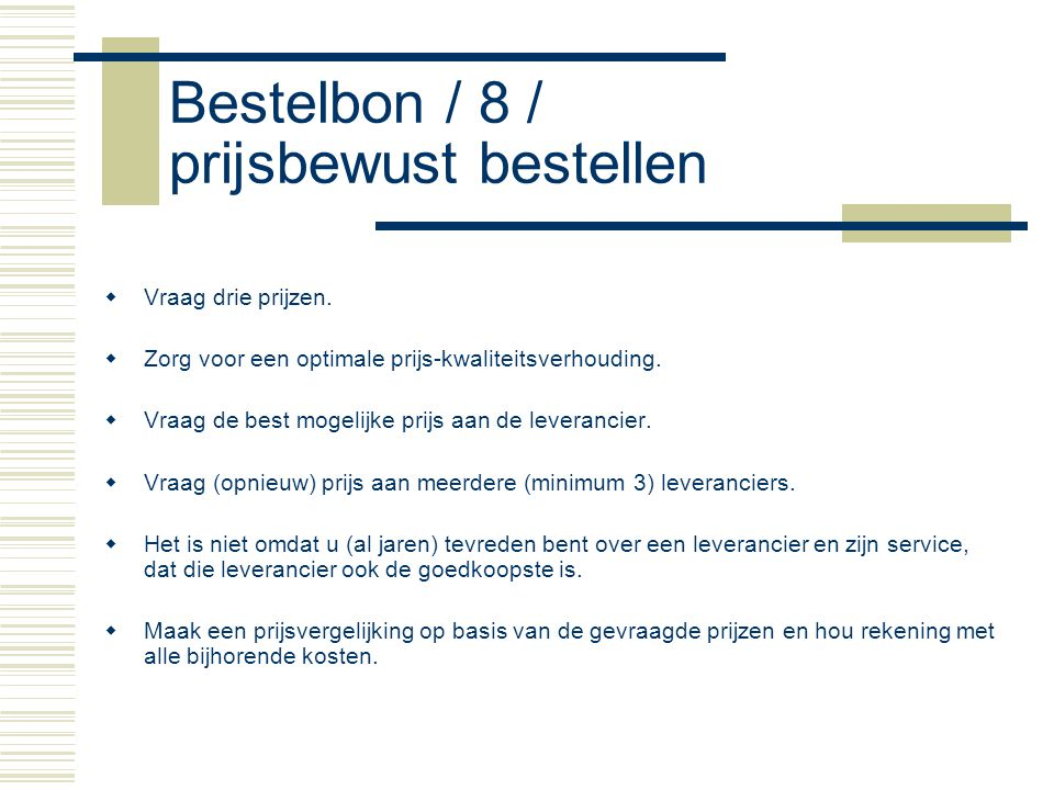 Bestelbon / 8 / prijsbewust bestellen