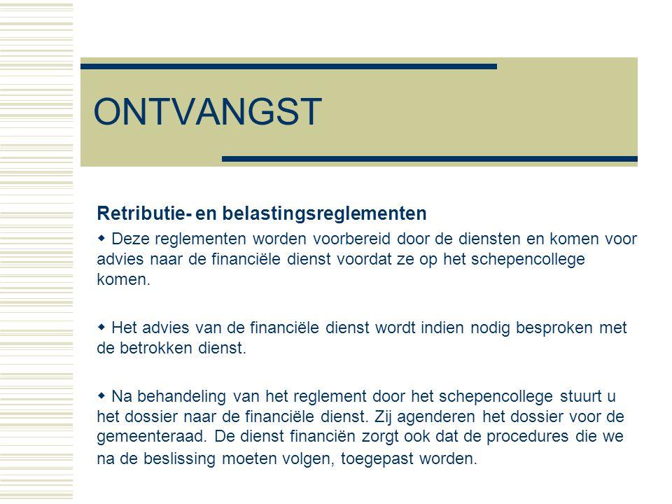 ONTVANGST Retributie- en belastingsreglementen