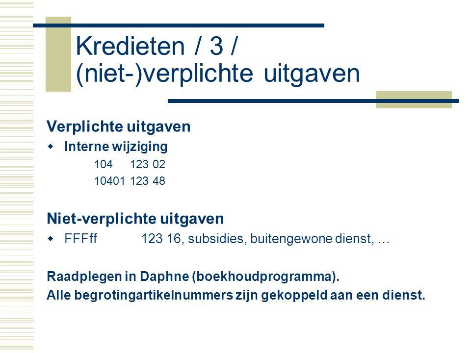 Kredieten / 3 / (niet-)verplichte uitgaven